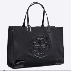 Tory Burch  Patten leather and nylon tote